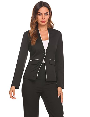 Women Long Sleeve Slim Suit Jacket Coat Black - 1