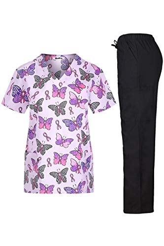 MEDPRO Women's Printed Medical Scrub Set V-Neck Top and Pants Hot Pink Black 2XL ()