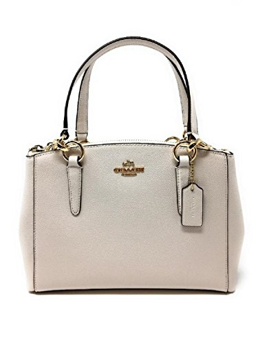 COACH Crossgrain Leather Mini Christie Carryall Crossbody Handbag (White) by Coach