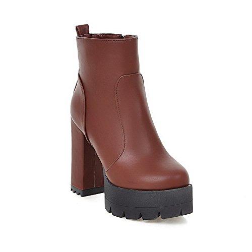 Allhqfashion Women's Low Top Zipper High Heels Round Toe Boots Brown JHAV894