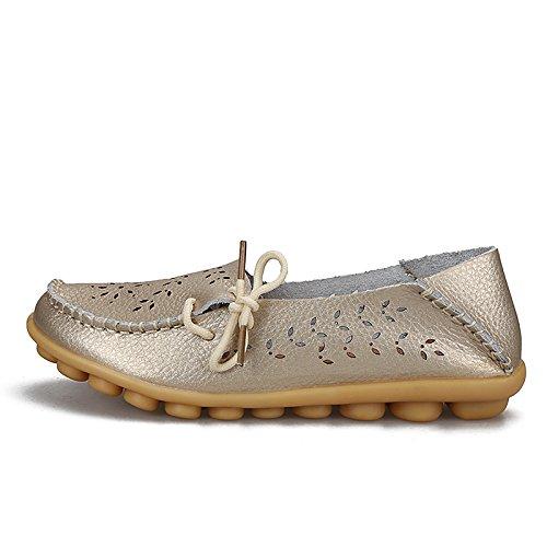 KEESKY Damen Leder Loafers Aushöhlen Casual Slip On Driving Schuhe Gold