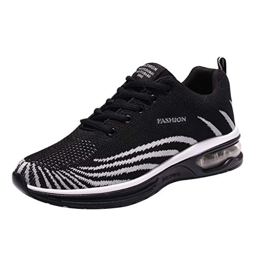iHPH7 Shoes Cushioning Trail Running Runner Fly Knit Breathable Casual Shoes Fashion Air Cushion Bottom Sneakers Shoes Men (42,Black) ()