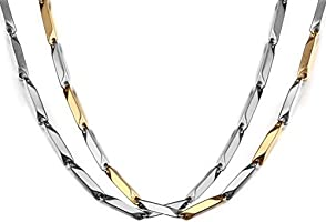 Nakabh Combo of Silver and Two Tone Italian Stainless Steel Chain Necklace For Men Boys (Pack of 2