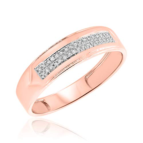 1/15 Carat T.W. Diamond Mens Wedding Band 10K Rose Gold- Size (Mens Rose Gold And Diamond Wedding Bands)