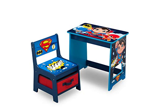 DC Super Friends Kids Wood Desk and Chair Set by Delta Children ()