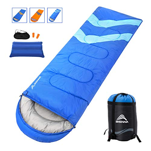 BISINNA Camping Sleeping Bag for Indoor and Outdoor Use – Great for Kids,Girls, Boys, Teens, Adults, Waterproof Lightweight and Compact Sleeping Bags for Traveling, Backpacking, Hiking