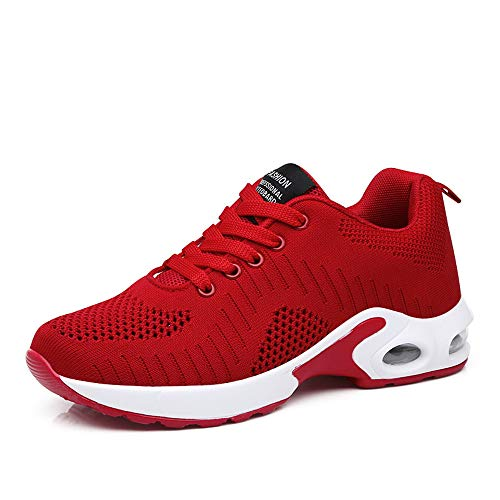 PAMRAY Women's Athletic Running Shoes Tennis Breathable Walking Sneakers Air Gym Sport Fitness Red-A -