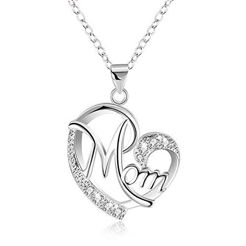 Morenitor Mothers Day Jewelry Gifts for Mom, Silver Plated Letter Mom Love Pendant with Shinning Diamond Heart Necklace for Wife Mom Women