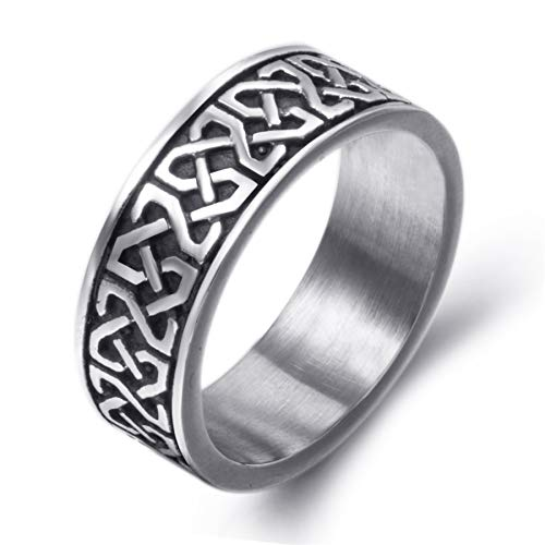 Elfasio 8mm Men's Celtic Knot Stainless Steel Ring Band Jewelry US Size -