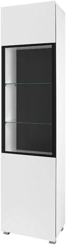 Farbasuwahl Standvitrine KRYSPOL Vitrine GORDIA G WIT1D Vitrinenschrank Schwarz//Schwarz Hochglanz, mit RGB LED Beleuchtung Glasvitrine Wohnzimmer