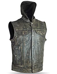 High Milage Mens Motorcycle Biker Distressed BRN Ultra Premium Removable Huddy Leather Vest