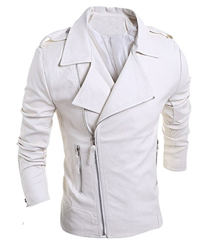 [Labaqiangj Men's Coat Long Sleeve Leather Lapel Zipper Coat Jacket WhiteUS X-Large=China 2X-Large] (Morph Suite)