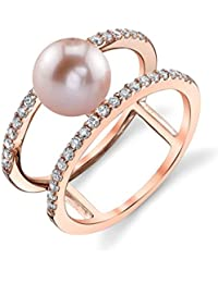 7mm Pink Freshwater Cultured Pearl Rose Gold Plated Luna Ring
