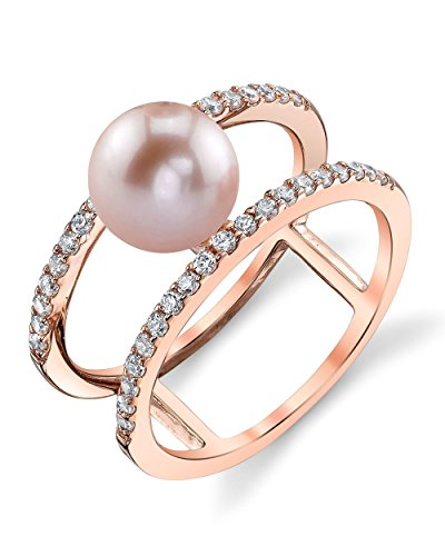 (THE PEARL SOURCE 7-8mm Genuine Pink Freshwater Cultured Pearl Rose Gold Luna Ring for Women)