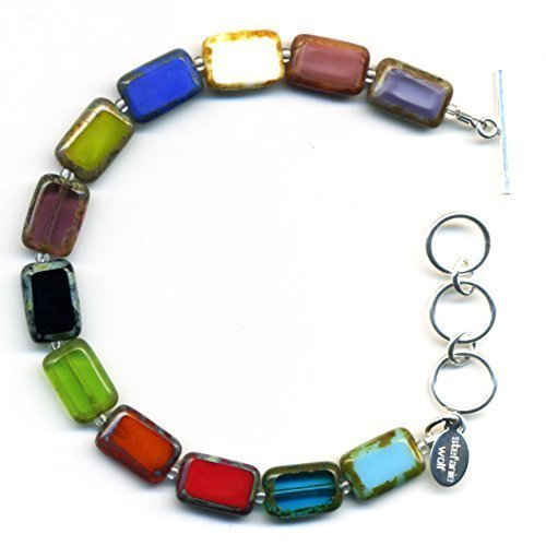 Beaded Bracelet in Rainbow Mix, Colorful Glass Tiles, Sterling Silver Adjustable Length Toggle Clasp, One Size Fits Most Glass Beaded Toggle