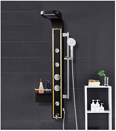 Shower System, Shower Panel Set Shower Screen Color European Shower Set Steam Generator With LED Light Shower Column Shower Multi-functional Nozzles Massage SPA Jet Temperature yd&h (Color : A)