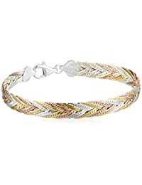 "Sterling Silver Italian Tri-Color Seven-Strand Braided Herringbone Chain Bracelet, 7.5"""