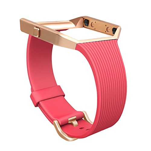 For Fitbit Blaze Slim Bands with Frame, GHIJKL TPU Replacement Sport Strap with Rose Gold Frame for Fitbit Blaze Smart Fitness Watch, Large Small, - Models Blaze