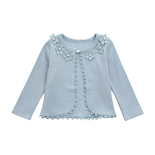 Wool Lace Cardigan (Lace Cardigan Clothes Girls Lace Flower Ruched Thin Coat Artificial Wool Clothes convinced (4T, Blue))