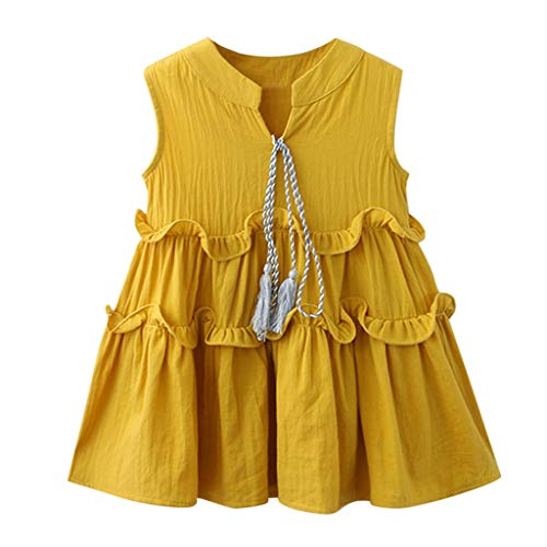 Jchen(TM) Little Girl Floral Dress Kids Baby Girls Sleeveless Ruffle Party Princess Casual Holiday Beach Dress for 2-7 Y (Age:4-5 Years, Yellow) -
