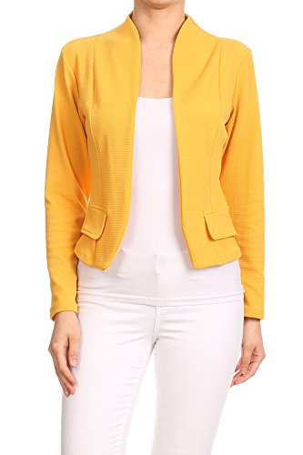 MissyMissy Womens Casual Business Loose Fit Solid Blazer Jackets J907 (2X-Large, Yellow) by MissyMissy
