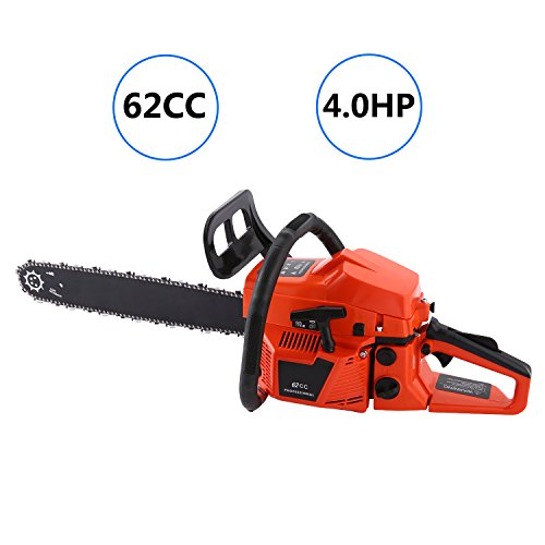 ncient 20'' 62CC Gas Powered Chain Saw 2 Stroke 4.0HP Handed Petrol Chainsaw with Smart Start Super Air Filter System and Automatic Oiling and Tool Kit [US STOCK] (62CC-Type2) by ncient