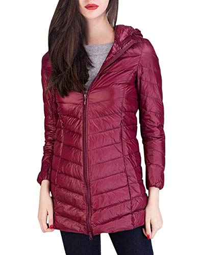 Manga Larga Pluma Colores Mujeres Encapuchado Fácil Grande Invierno Fashion Slim Plumas Outerwear Talla Chaqueta Winered Casuales Elegantes Termica Battercake Fit Mujer Sólidos wHICYXcq