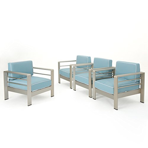Crested Bay Outdoor Silver Aluminum Framed Club Chairs with Light Teal and White Corded Water Resistant Cushions (Set of 4) For Sale