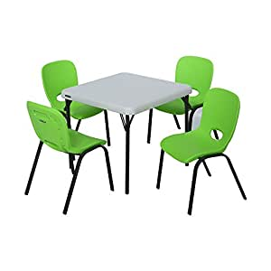 lifetime kids table and chair set lime green and almond kitchen dining. Black Bedroom Furniture Sets. Home Design Ideas