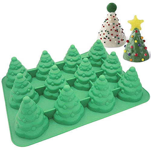Palksky Jumbo Size 3D Silicone 12 Cavity Tree Mold & Christmas Tree Mold Make Xmas Tree Cake, Chocolate, Jello, sShaped Candles Soap Mold