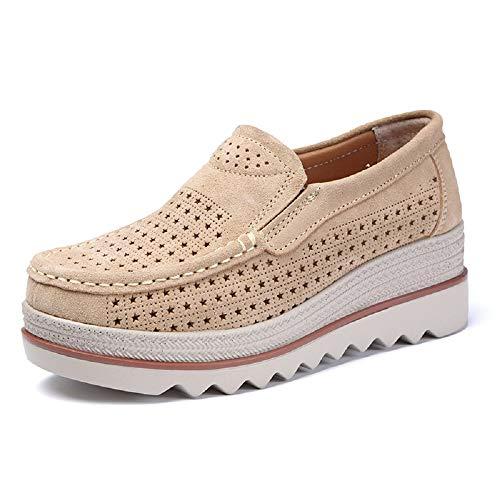 Qiusa Ahuecar Cuero Mujeres tamaño Holgazanes de Respirables EU Zapatos tamaño Color Plataforma Gran Beige la 40 Negro de rqBWrx0Y