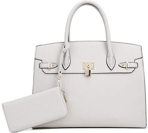 DELUXITY Women's Designer Top Handle Satchel Handbag Tote Bag Briefcase 2pc set   Off-White