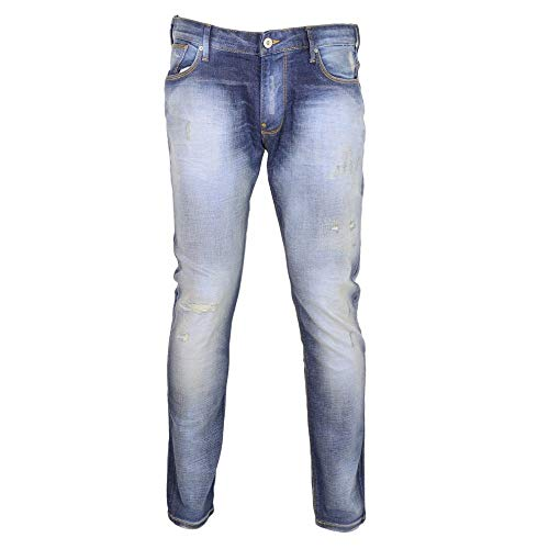 Emporio Armani Slim Fit Stone Washed Distressed Blue Jeans W32 - L30 Stone Wash