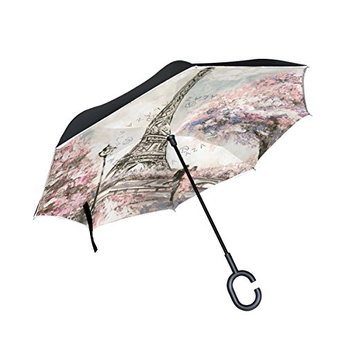 Reverse Patterns Glass Painting (Top Carpenter Double Layer Reverse Inverted Umbrellas Oil Painting Street View With C-Shaped Handle for Car Outdoor)