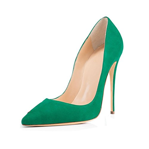 Antiscivolo punta Banchetto Fine Party PU Tacco Suede Donna Single 40414243444546 Size Stiletto YWNC Mouth Large Shallow 34 Punta green a Alto Shoes Pump nRw4qFz5x