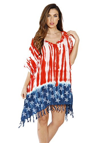 Riviera Sun 21552-L American Flag Caftan/Caftans/Swimsuit Cover Up