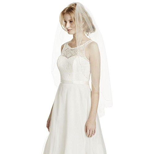 One Tier Fingertip Floral Embroidered Veil Style V186, Ivory by David's Bridal