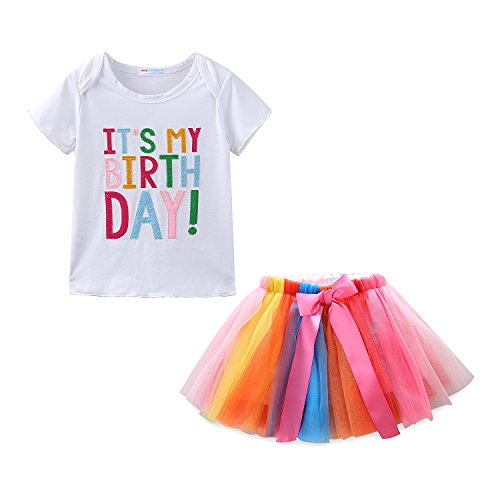 (Mud Kingdom Little Girls Birthday Gifts 6 Year T-Shirt Skirt Clothes Set Rainbow 6T)