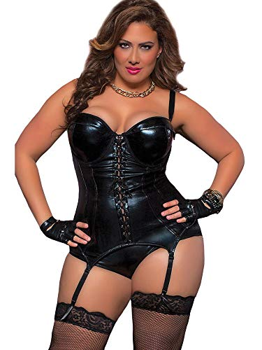 Seven Til Midnight Women's Plus Size Desire Bustier, Black, 1X/2X]()