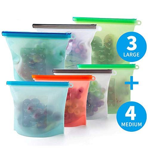 Reusable Silicone Food Storage Bags, AMDRFO 7 Pcs Airtight Seal Food Preservation Bags for Vegetable, Fruit, Meat, Milk, Snack - FDA Approved Materials Reusable Ziplock Bags, 3xLarge 50oz+4xSmall -