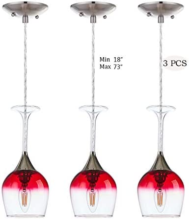 Doraimi 1 Light Wine Glass Pendant Set of 3 with Brushed Nickel Finish, Modern Ceiling Lighting Fixture Patented Product for Dining Room Bar Cafe Kitchen Island Living Room, LED Bulb not Include