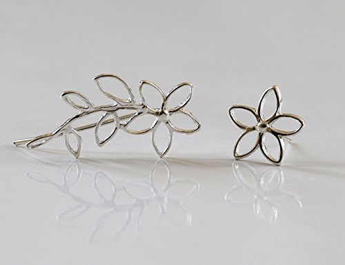 Handmade PAIR of 2 different earrings ,flower ear cuff and Flower stud ,Sterling Silver , Flower Ear Climber ,