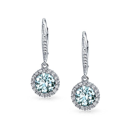 TRUSUPER Silver Lever Back Round Cubic Zirconia Dangle Earrings