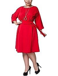 Womens Round Neck 3/4 Sleeve A-Line Dress with Belt M-5XL