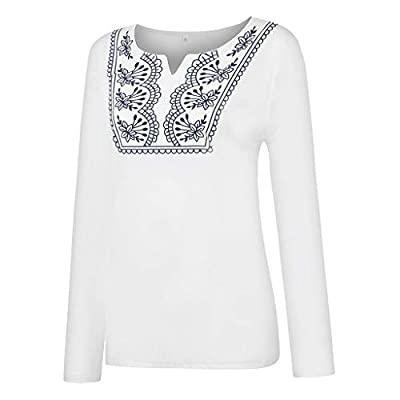 Women National Style Vintage Print V Neck Long Sleeve T Shirt Blouse Top,Autumn Winter Ladies Clothing: Clothing