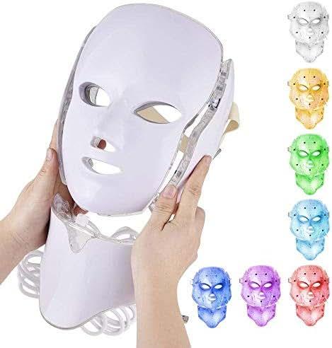 LED Mask Facial with Neck Korean LED Face Photon Mask Light Skin Care Mask for Brightening, Supplemental CollagenUK Voltage