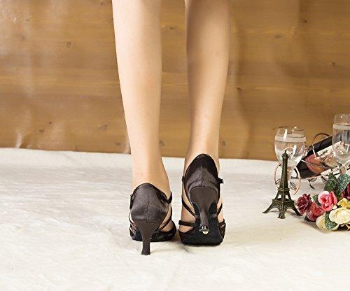 Minitoo Ladies TH123 Knot Ankle Strap Satin Wedding Ballroom Latin Taogo Dance Sandals Black R4xyu