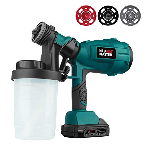 Cordless Paint Sprayer, NEU MASTER Electric HVLP Powerful Spray Gun with 3 Spray Patterns and Adjustable Valve Knob for Painting Ceiling, Fence, Cabinets, Walls