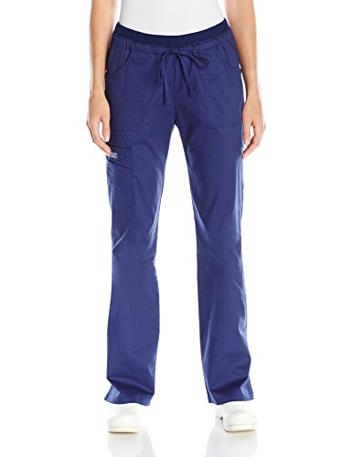 Low Rise Flare Scrub Pant - Cherokee Women's Workwear Core Stretch Low Rise Cargo Scrubs Pant, Navy, Medium Tall