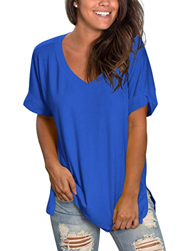 liher Women's Short Sleeve Tops V-Neck Loose Fit Casual Tee ()